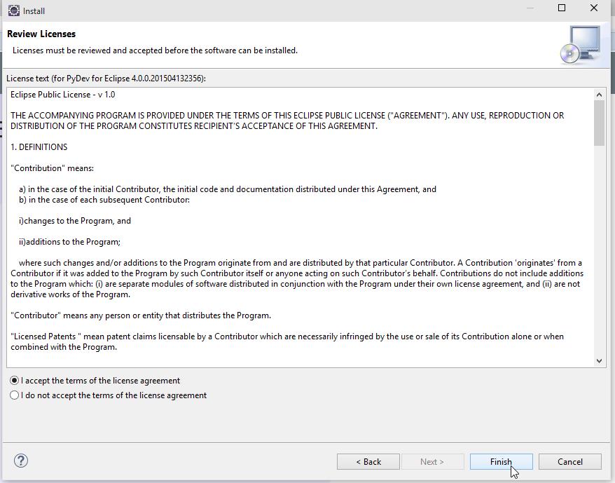 Eclipse Install Software License Agreement Screenshot
