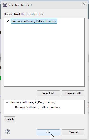 Eclipse Accept Certificate PyDev Screenshot