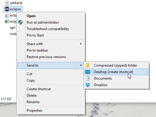 Eclipse create shortcut windows 10 screenshot
