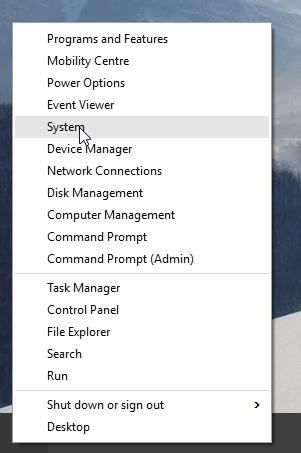 Windows 10 system menu option screenshot