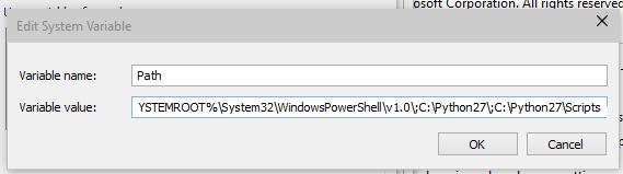 Windows 10 'path' system variable screenshot