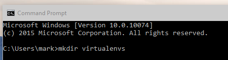 Widnows 10 Command Prompt Virtualenv Screenshot