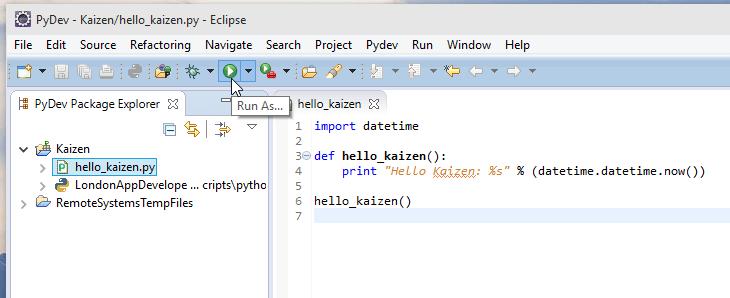 Windows 10 Python PyDev Eclipse Hello World Screenshot