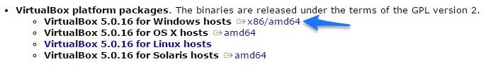 VirtualBox Download Options