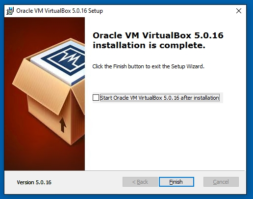VirtualBox Oracle VM VirtualBox 5.0.16 installation is complete
