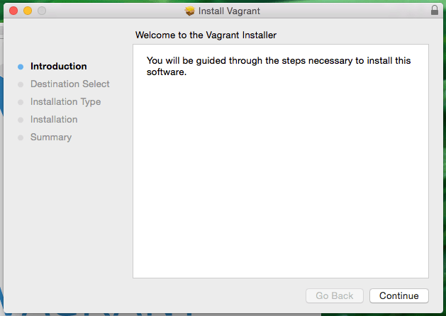Welcome to the Vagrant Installer Screenshot