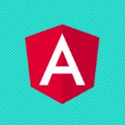 Angular logo on a teal green background