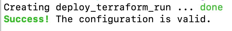 Screenshot of the Terraform validate command returning a successful validation response