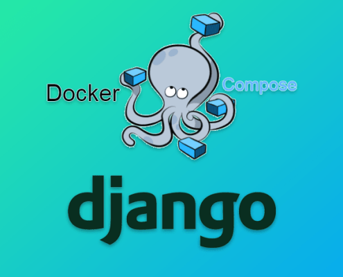 Django and Docker compose logos on a blueish green background