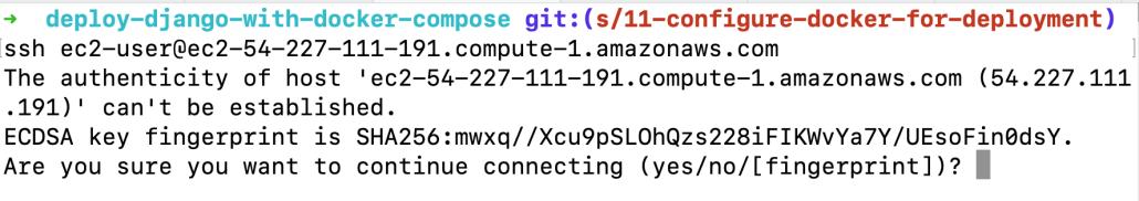 Screenshot of the SSH fingerprint prompt.
