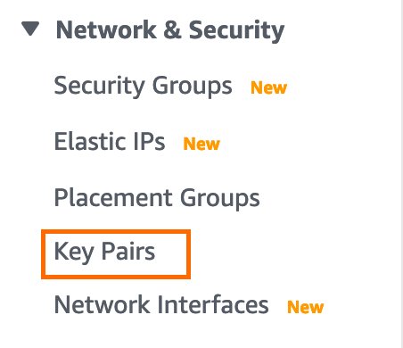 Screenshot of the Key Pairs option in AWS.