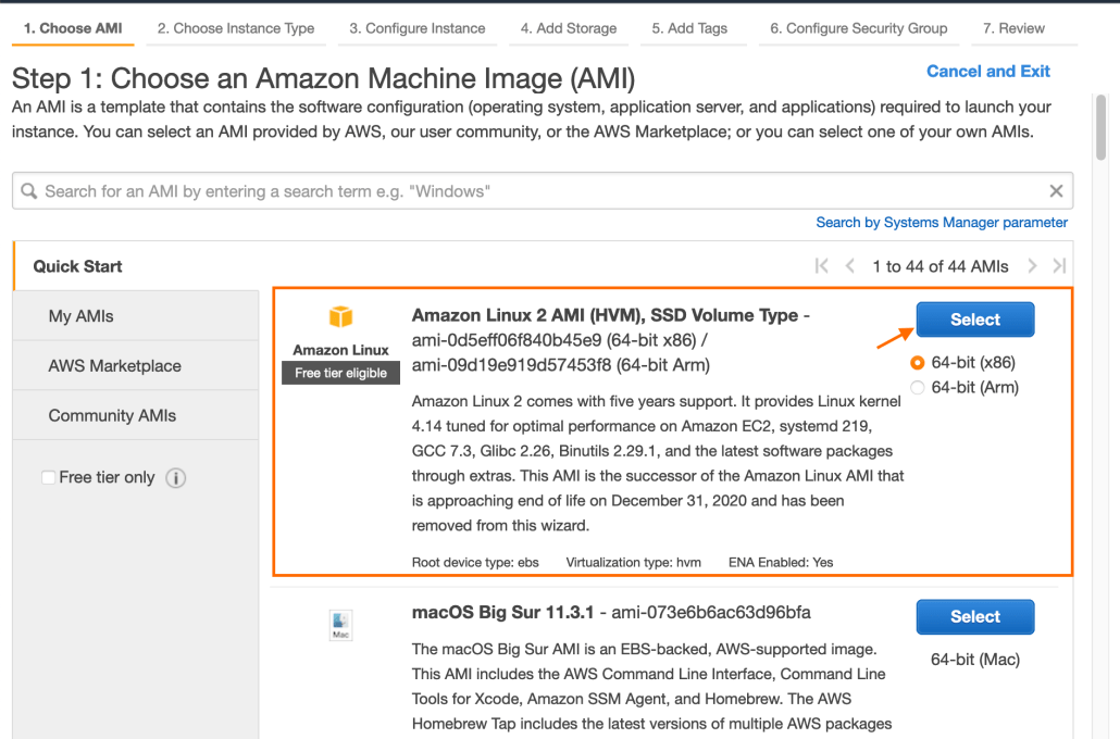 Screenshot of the Amazon Linux 2 AMI option.