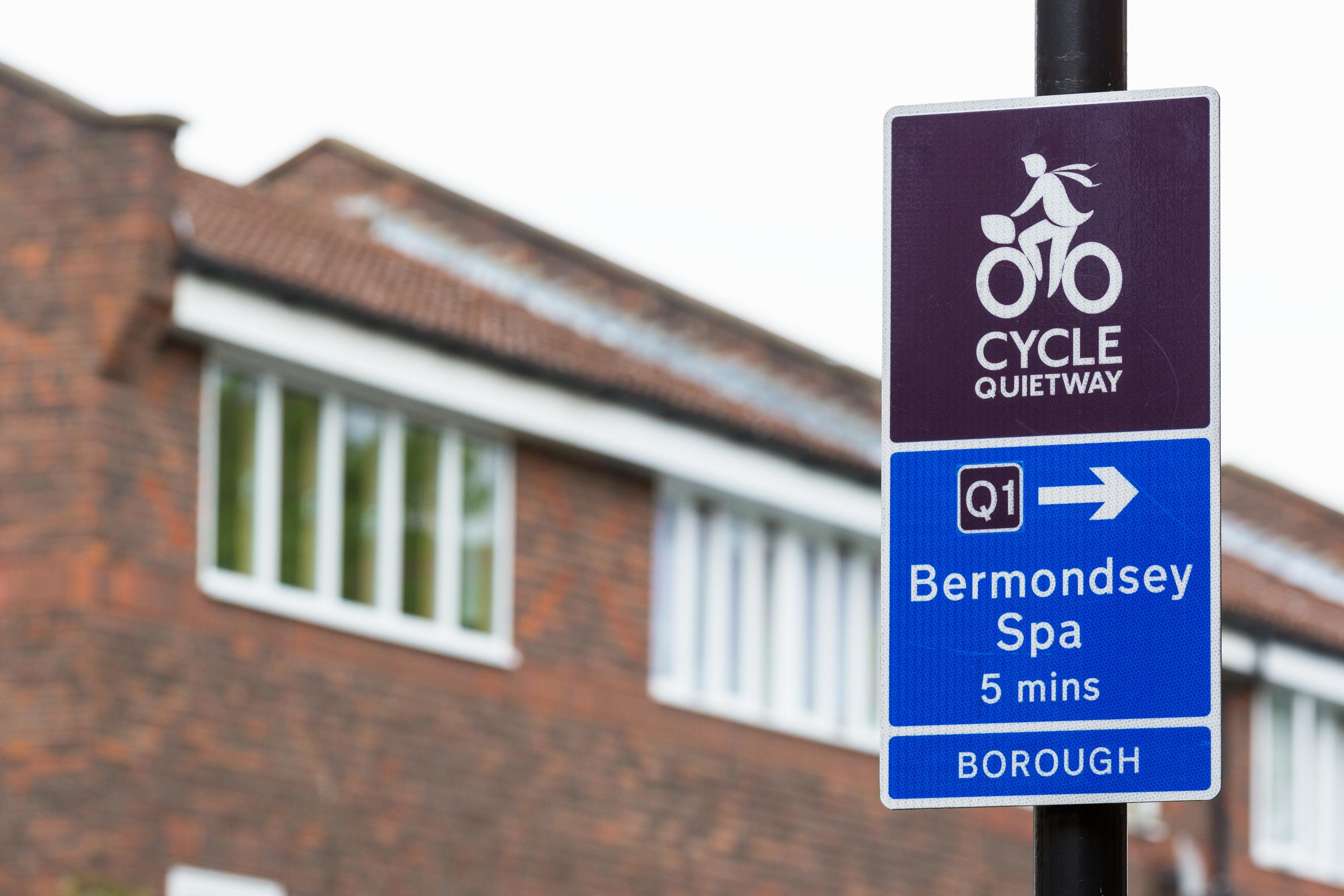 Signage on the Quietways 1 cycle route