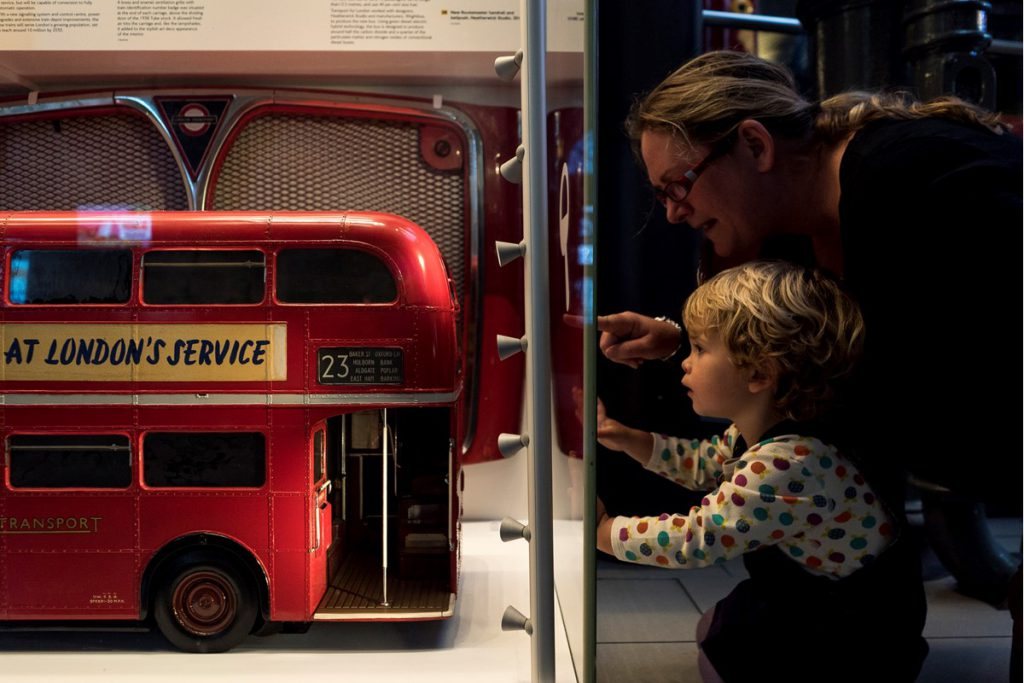 Mother and child at London Transport Museum