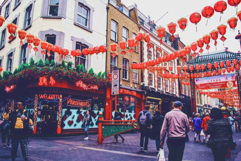 People celebrating Chinese New Year in London Chinatown