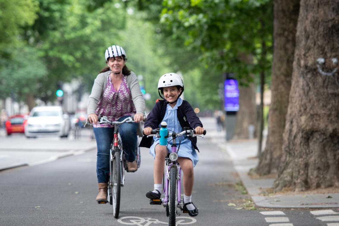 mother and daughter cycling
