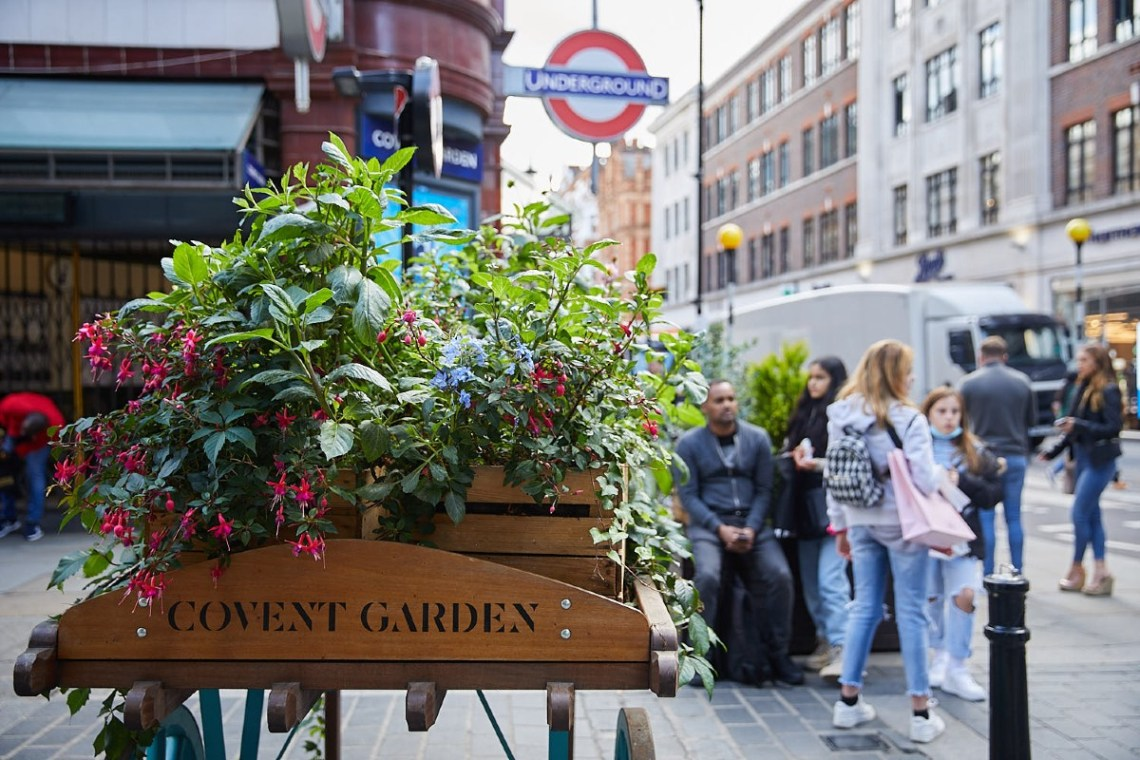 Planters outside Covent Garden station