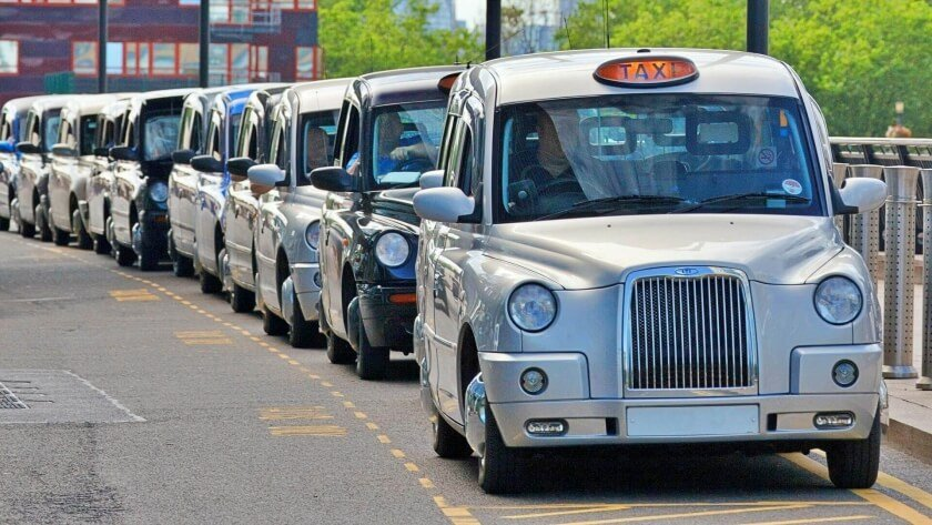 London black cabs parked on London taxi rank