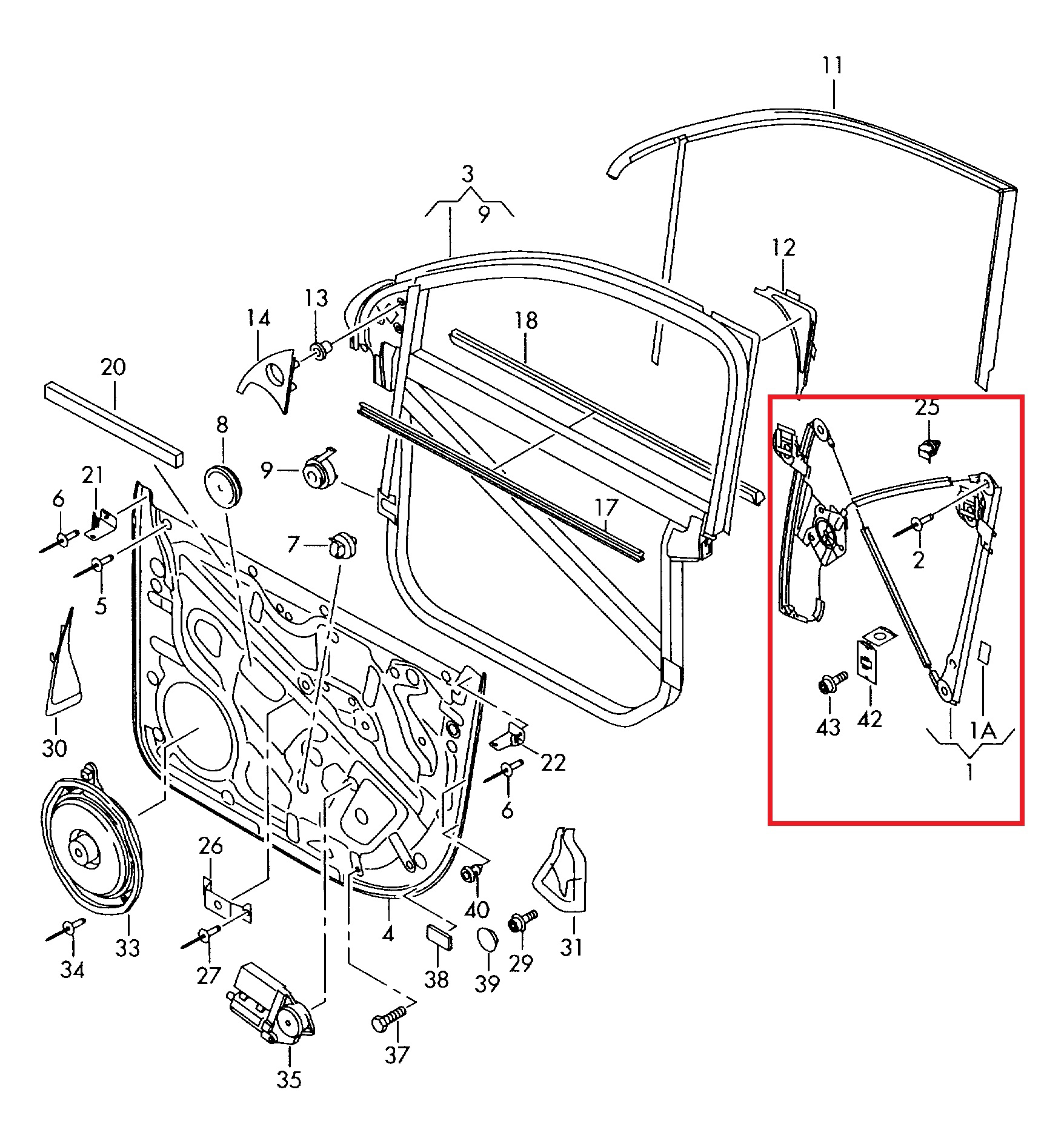 Vw Touareg Window Regulator Repair Kit Front Right 4 5