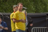 Mark Cavendish addresses cyclists and supporters gathered in Horse Guards Parade.