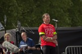 A serving officer and event participent addressed cyclists and supporters gathered in Horse Guards Parade.