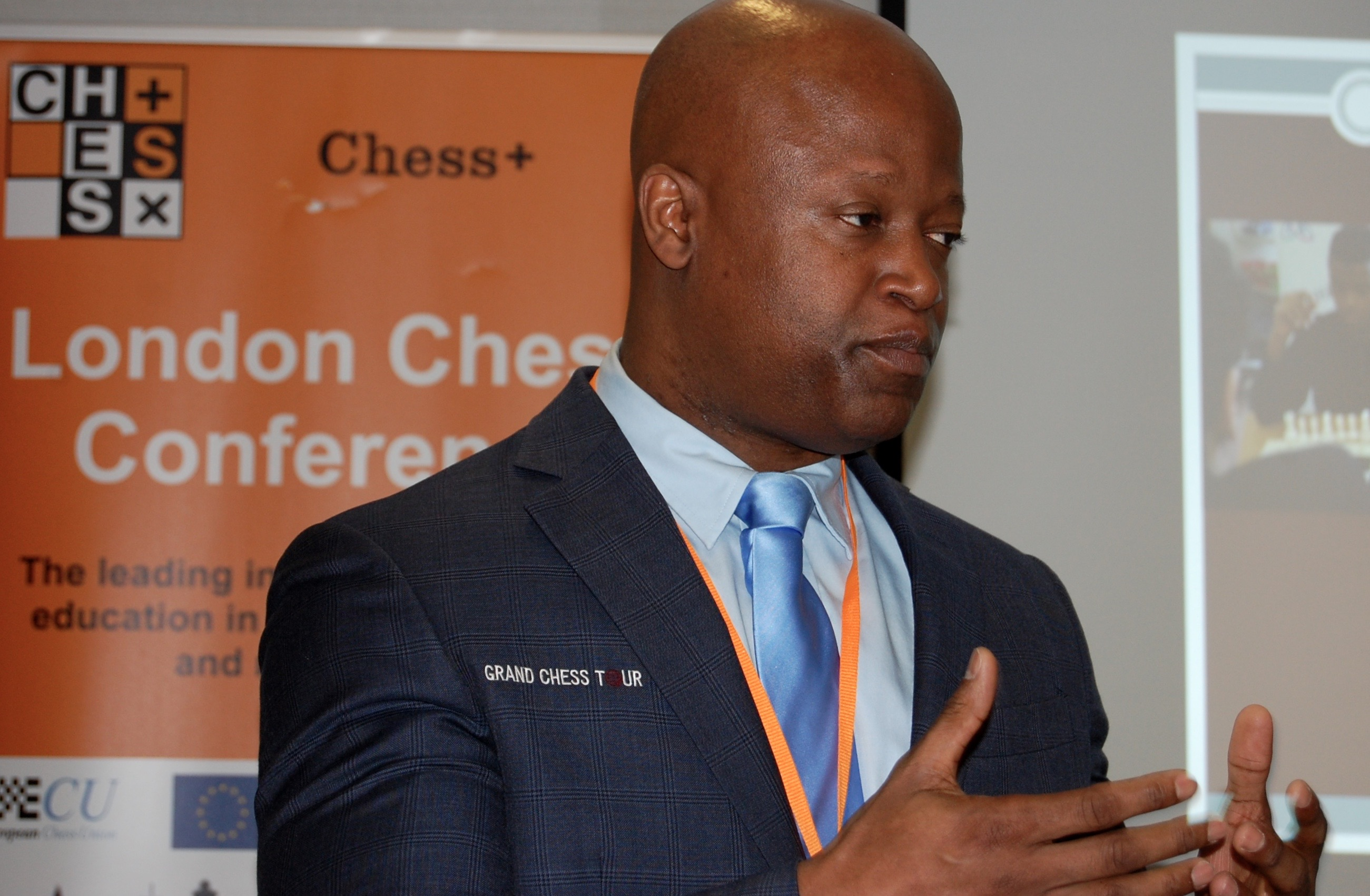 GM Maurice Ashley from the Grand Chess Tour speaking at the 2017 London Chess Conference on Scholastic Chess