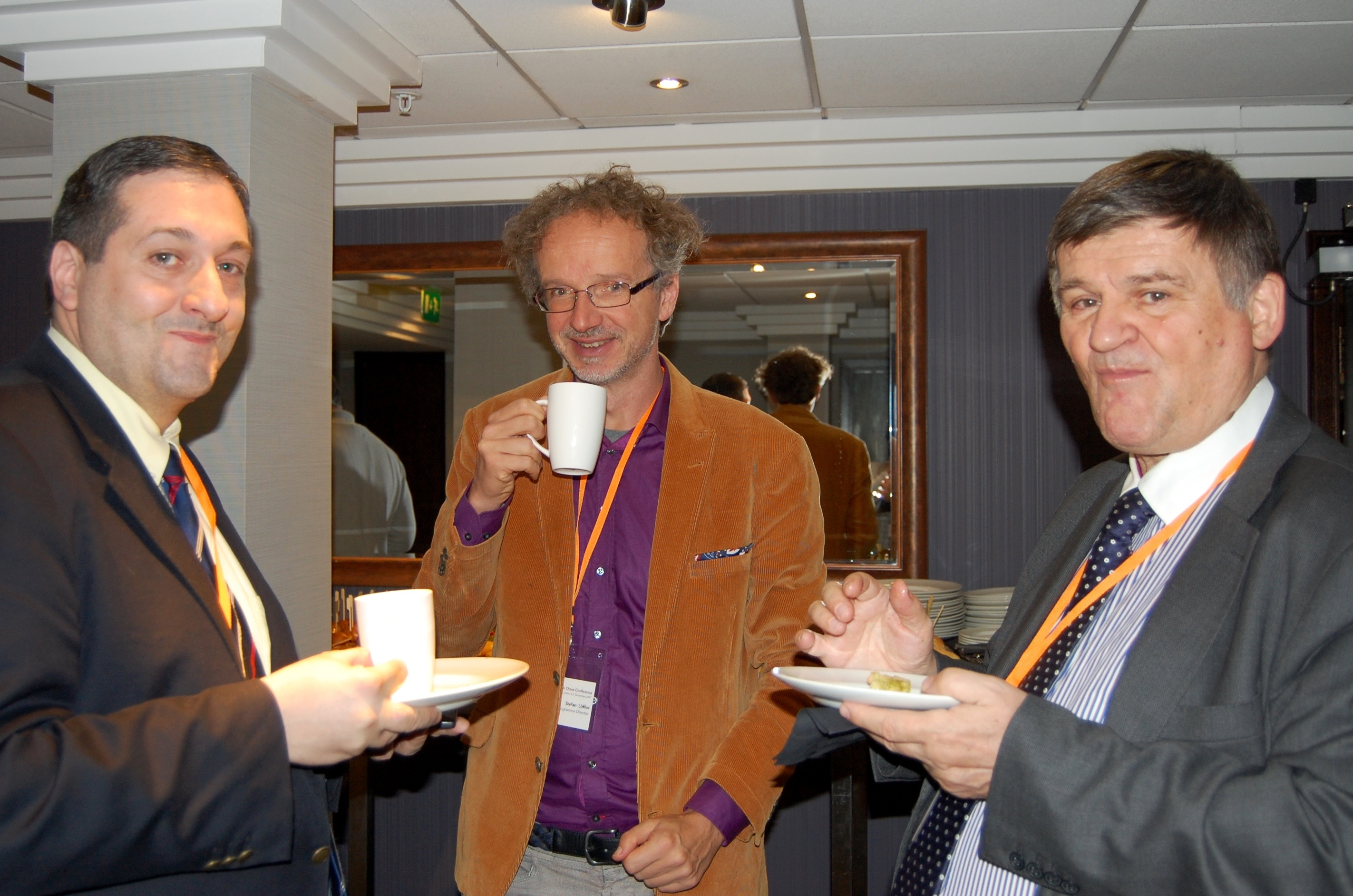 Luis Blasco, Stefan Loffler, Frantisek Jablonicky taking coffee at the London Chess Conference