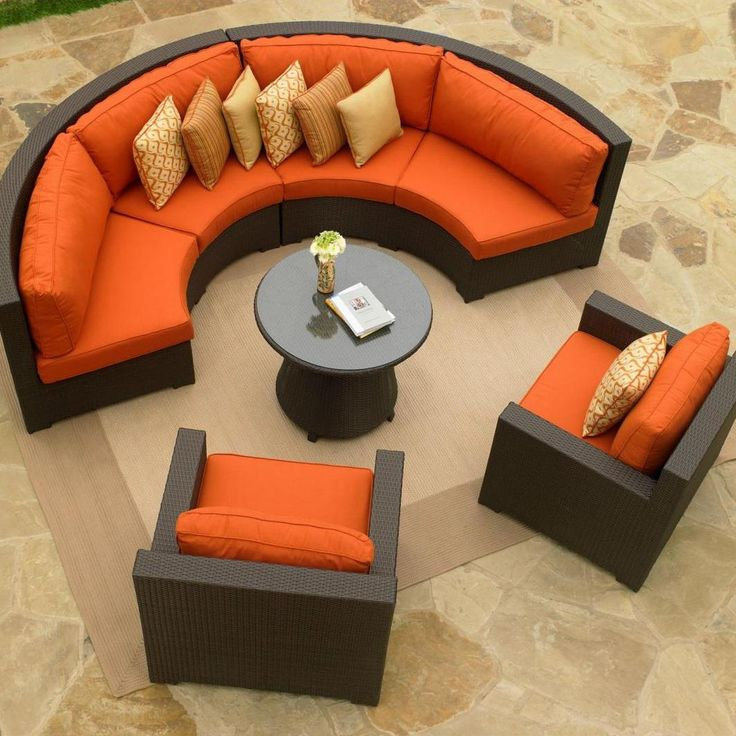 Outdoor Furniture With Orange Cushions