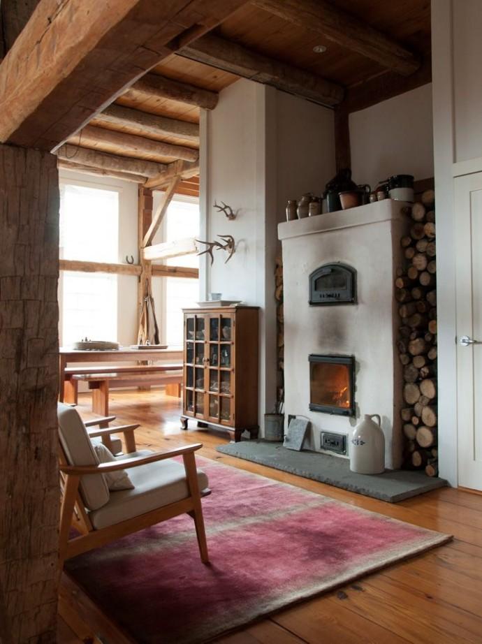 Pink & Grey Designer Rug  In Designer Bill Hovard's Home