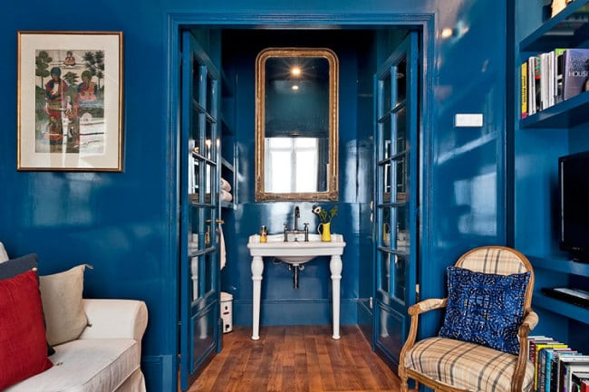 Blue Lacquered Walls, White Sink & Gold Mirror