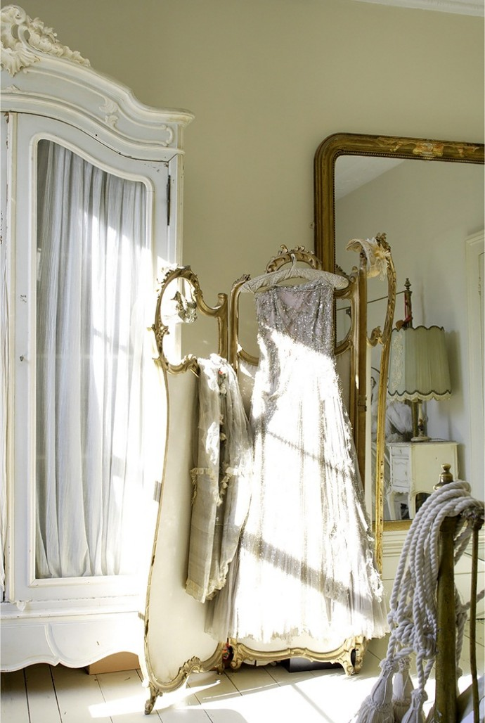 5 Space Saving Ideas For The Bedroom - Shabby Chic Wardrobe, Mirror & Vintage Gown