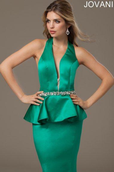 Jovani Peplum Evening Gown In Emerald Green
