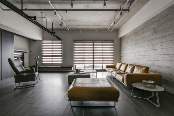 Modern and Minimal: The Short Guide For Your Apartment - Industrial Minimalist Lounge - Image By Contemporist