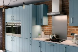 How To Give Your Kitchen A Modern Country Feel Wooden Units, Flooring and Grey/Blue Colouring