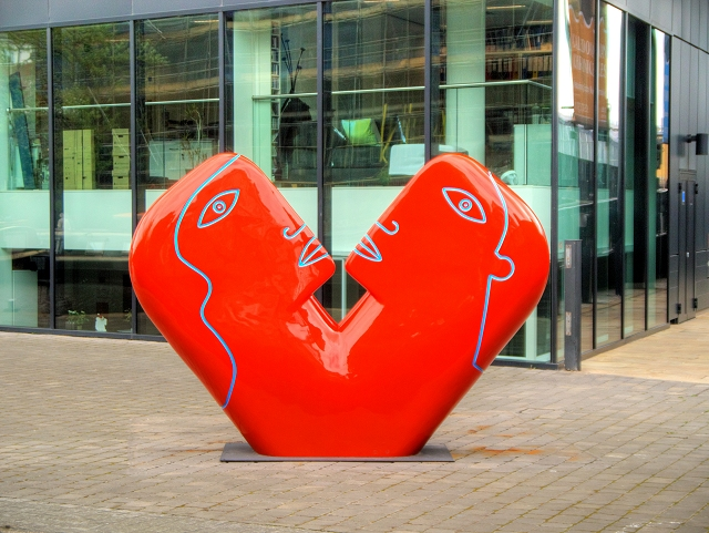 How to make a business office more comfortable and accommodating - Sculpture outside art venue and Guardian Offices in Kings Place London
