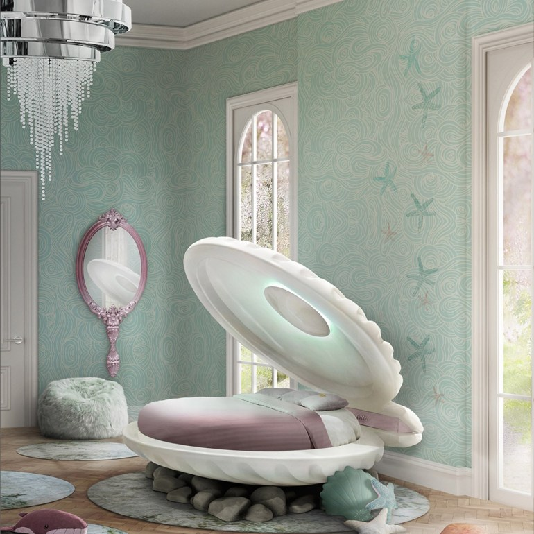 Create A Fairytale-Themed Bedroom For Your Child - Little Mermaid Shell Bed - Image By CuckooLand.com