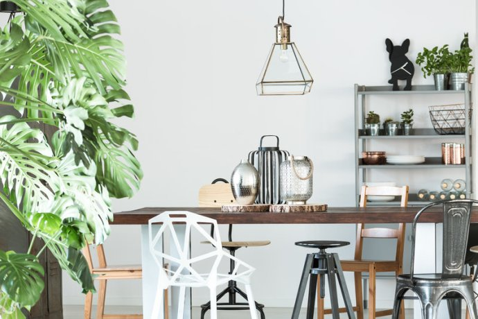 Industrial Dinning Table Chairs, Metal Chairs, Wooden Table, Wire Light Shade