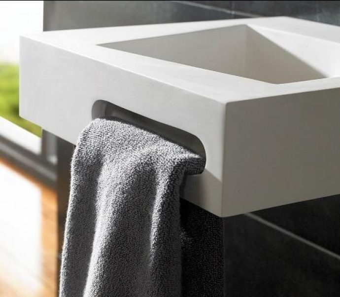 Stone Resin Sink With Towel Apertures - Image Via clickbasin.co.uk