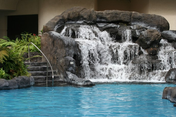 Water feature with swimming pool