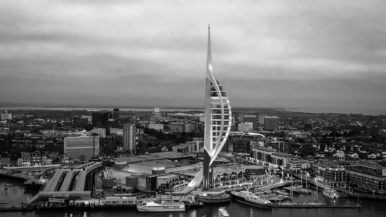 Harbour of Portsmouth England with famous Spinnaker Tower