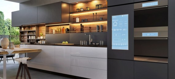 Kitchen with smart fridge freezer and smart cooker