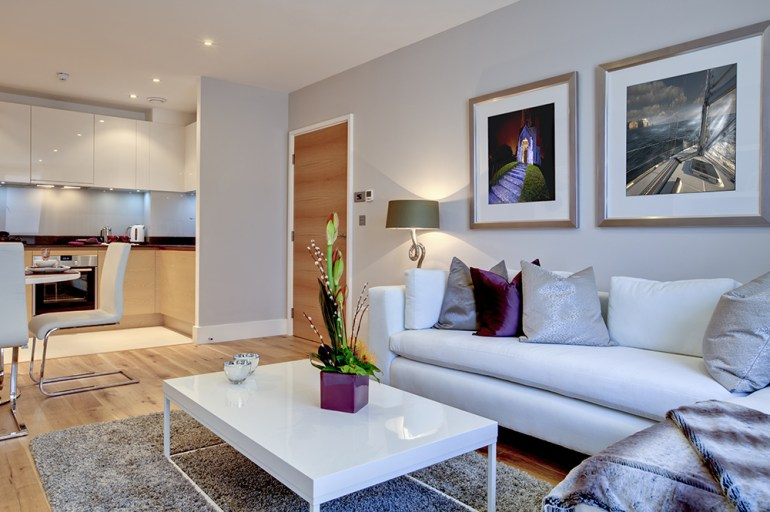Open plan lounge and kitchen in sylish white apartment