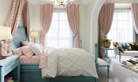 Large bedroom, large bed, and large window, plus bedside tables. Decorated in pistachio, blue and pink