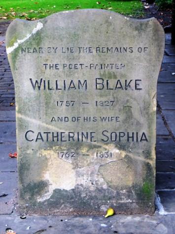 William Blake's grave in Bunhill Fields Burial Ground