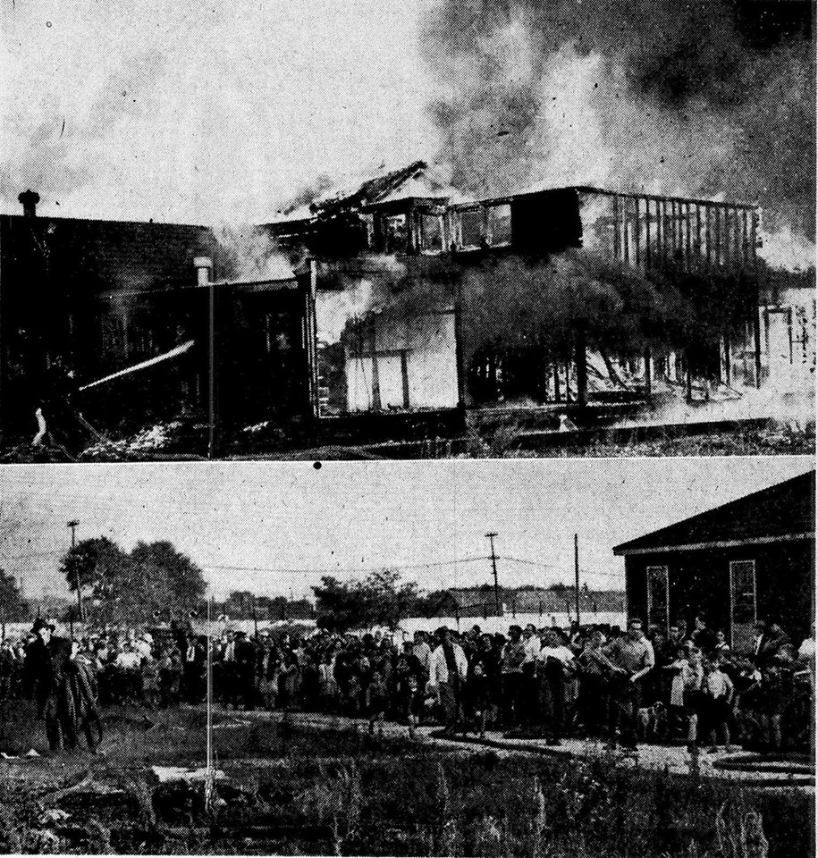 """Blaze deliberately set"" - damages hut June 17, 1948 Fire is shown destroying the last section of the remaining H-Type army hut at Queen's Park. A previous section was destroyed by fire 6 months before. This fire was deliberately set, posssibly by children. Flames were seen to reach 30 ft into the air and attracted a large crowd of spectators.  source - London Free Press Microfiche, London Room, Central Library"