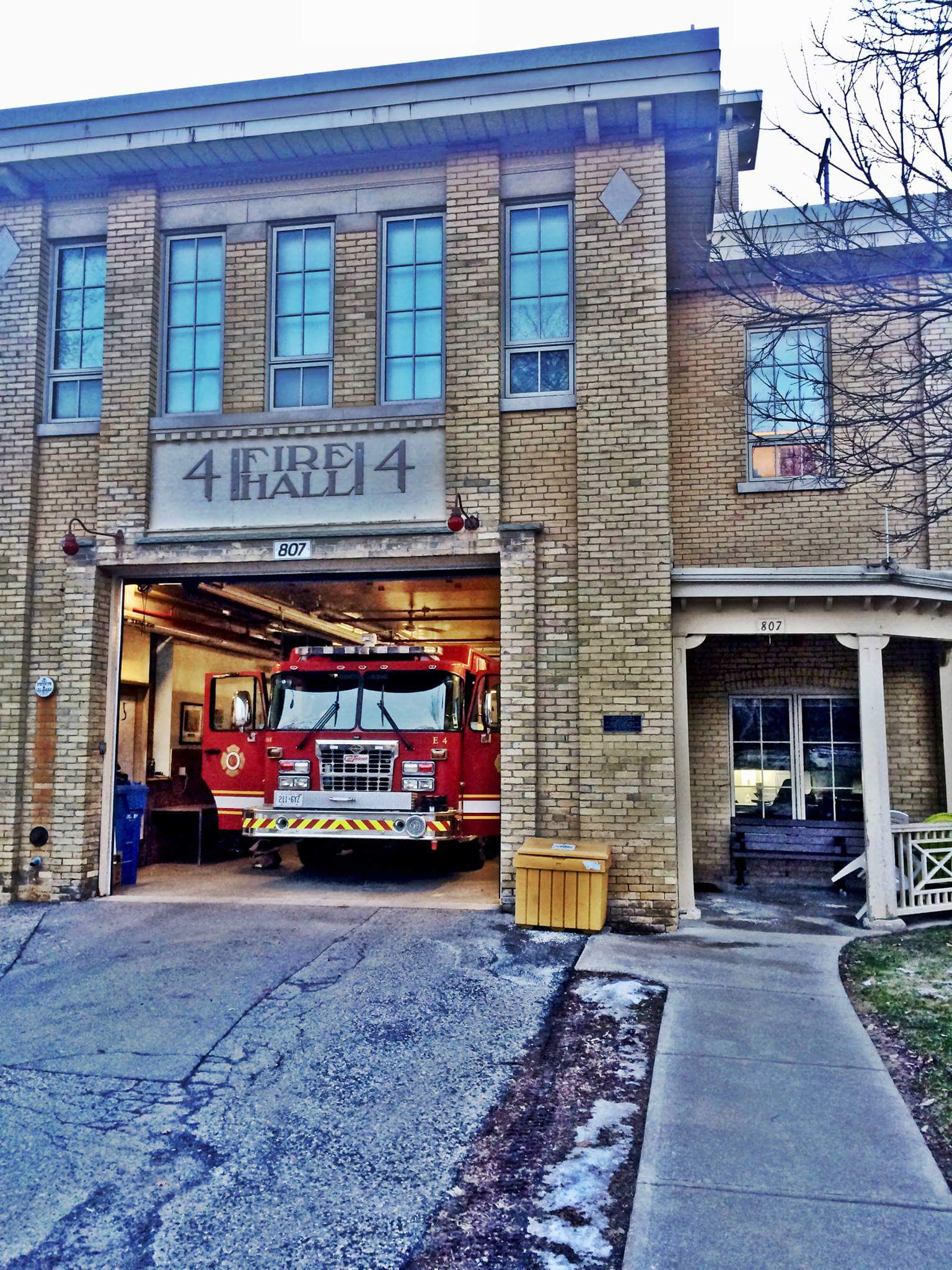 Station 4 with the bay door open and engine four on display