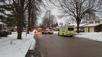Emergency crews block the scene of a house fire on Griffith Street in London, Ont, on Monday, February 13, 2017. (Justin Zadorsky / CTV London)