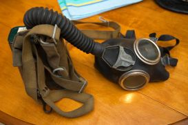 Old simple filtration mask worn by London Fire Fighters