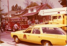Eng 3 ( 1959 ALF 900 ), Trk1 ( 1975 Ford/KingSeagrave ) and Car 1 ( 1974 Chev wagon, had just been put into service ) at a garage fire on Emery St between Wortley Rd and Cathcart St May 1974.