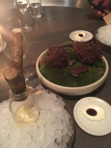 Moss Cooked in Chocolate, Cep Mushroom, and Egg Liqueur: My favorite part! The moss was sprayed with chocolate after being cleaned three times over for dirt.